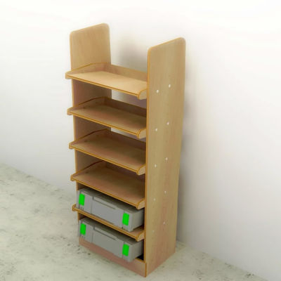 Drill box / Power tool box (500mm) plywood storage rack